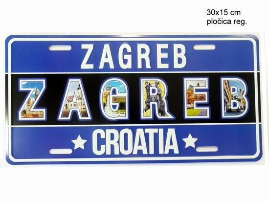 Slika REGISTRACIJSKA PLOČICA ZAGREB 30X15CM